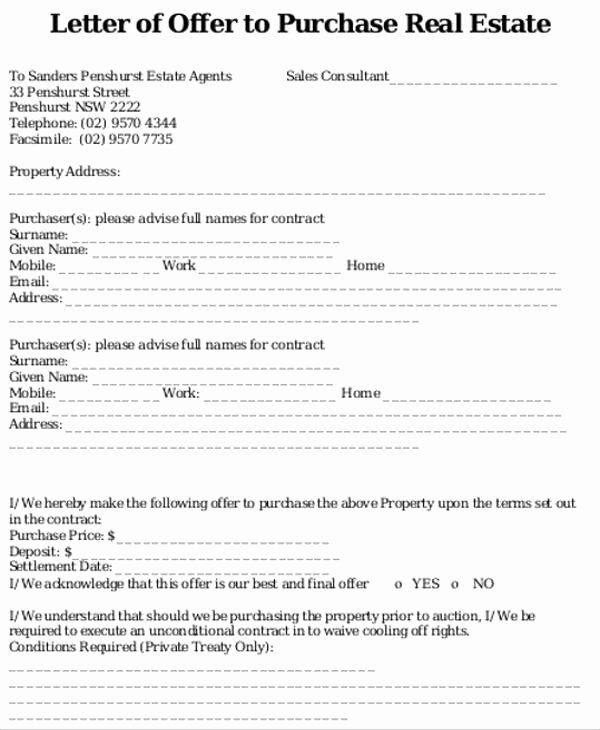 Real Estate Offer Letter Best Of 8 Real Estate Fer Letter Template 9 Free Word Pdf