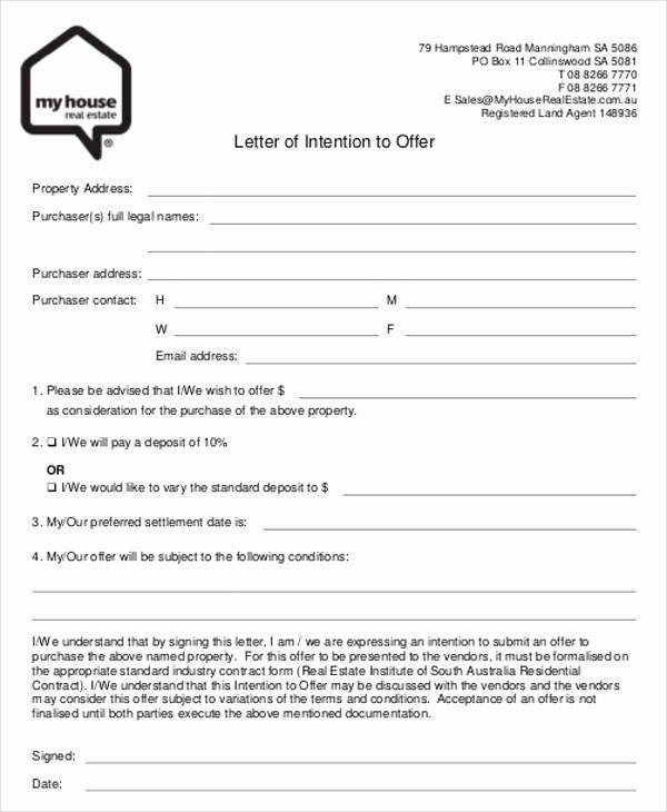 Real Estate Offer Letter Template Unique Real Estate Fer Letter