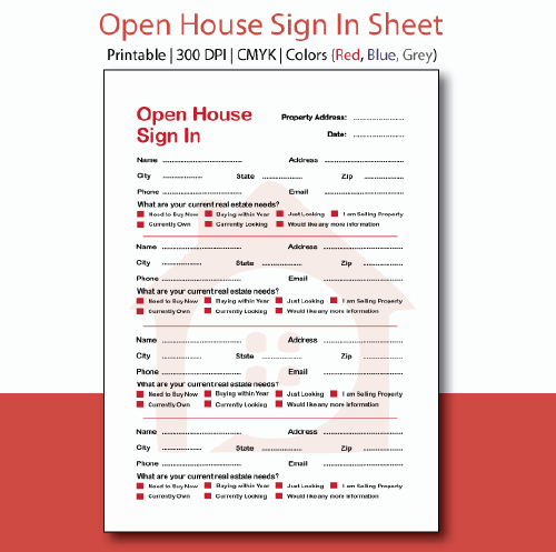 Real Estate Sign In Sheet Awesome Printable Realtor Open House Flyer 11x14 Inches Instant
