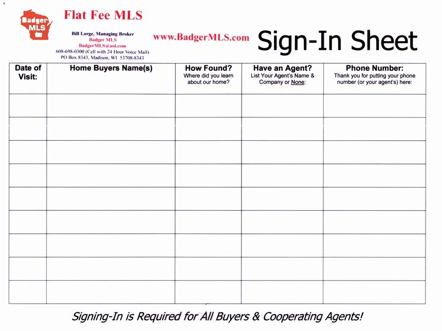 Real Estate Sign In Sheet Best Of for Sale by Owner forms Badgerland Mls Wisconsin S