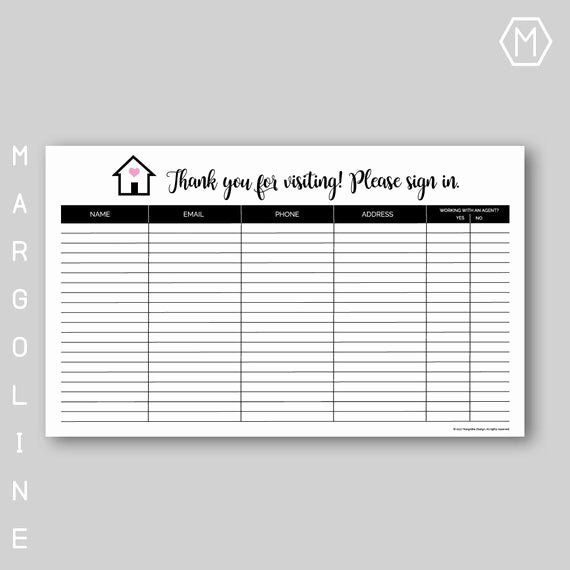 Real Estate Sign In Sheet Elegant Real Estate Open House Sign In Sheet Real Estate Open House