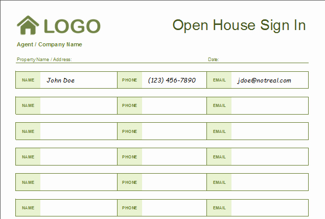 Real Estate Sign In Sheet Fresh 4 Free Real Estate Open House Sign In Sheet Templates [ Tips]