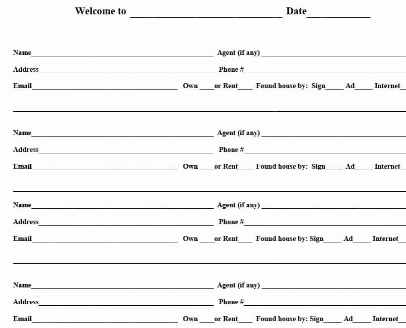 Real Estate Sign In Sheet Inspirational 4 Free Real Estate Open House Sign In Sheet Templates [ Tips]