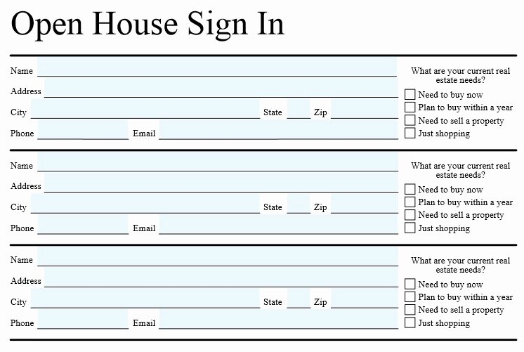 Real Estate Sign In Sheet Inspirational Open House Sign In Sheet Template for Real Estate Word