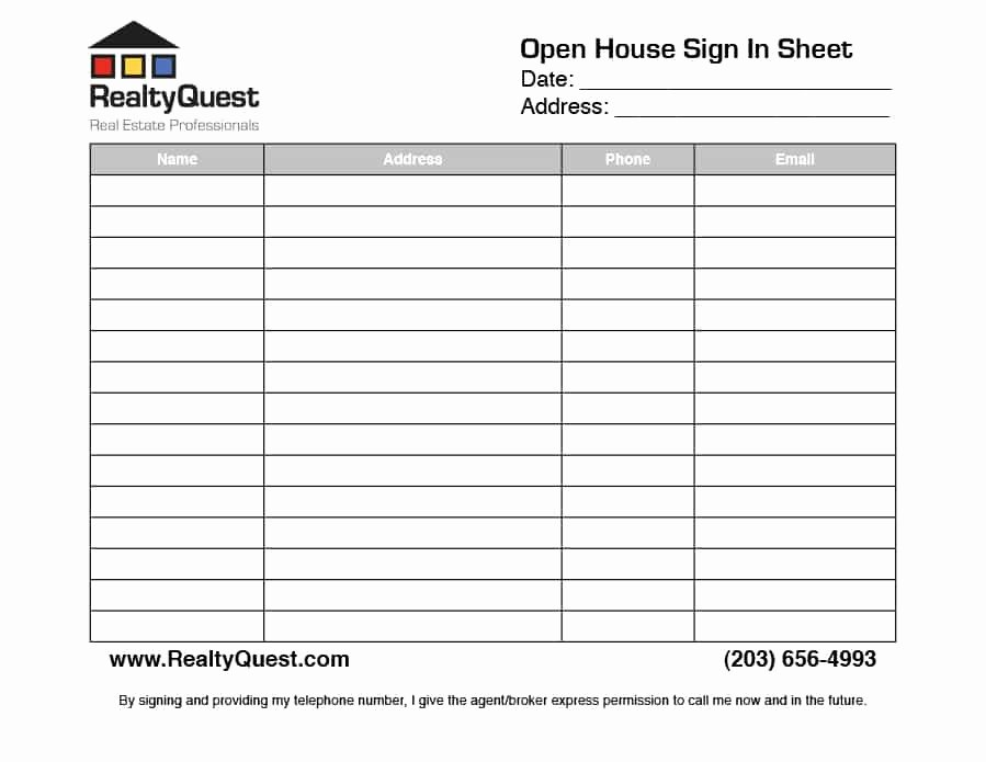 Real Estate Sign In Sheet Luxury 30 Open House Sign In Sheet [pdf Word Excel] for Real