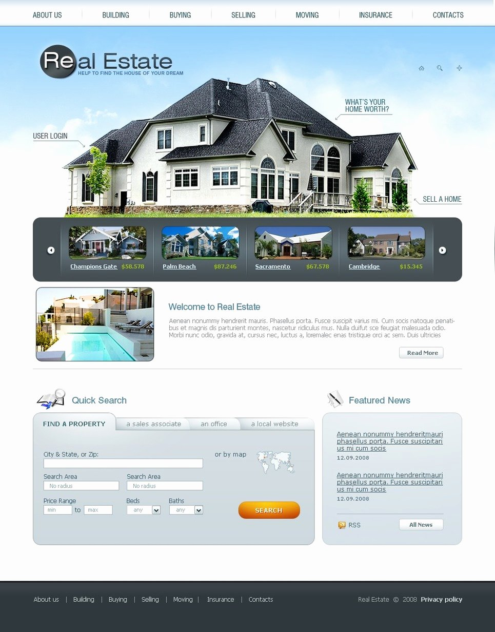 Real Estate Website Templates Fresh Real Estate Agency Website Template