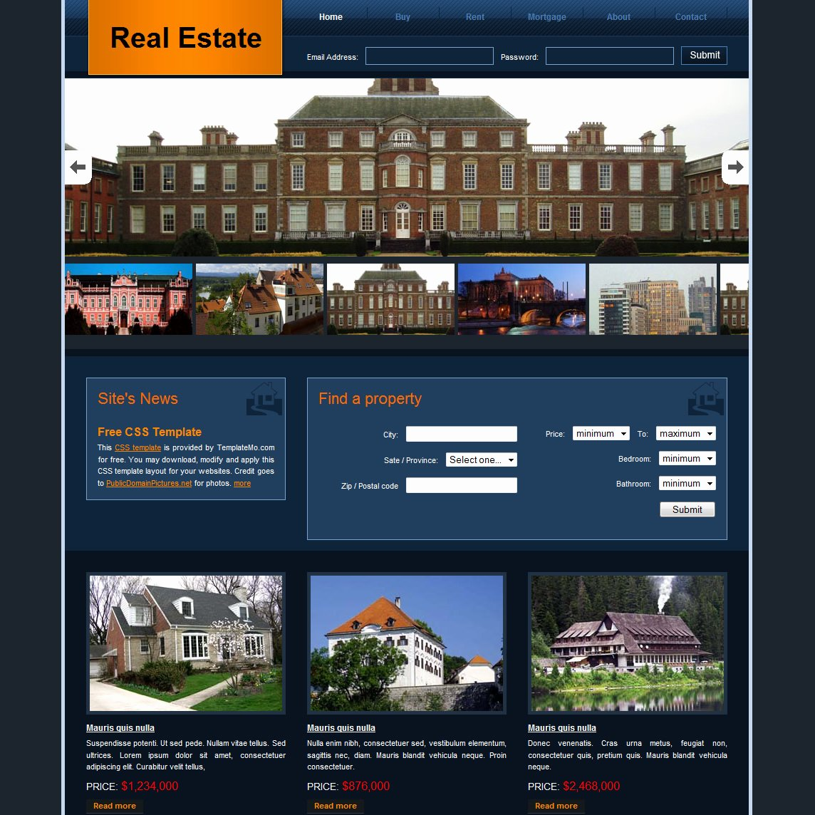 Real Estate Website Templates Lovely Free HTML Website Templates