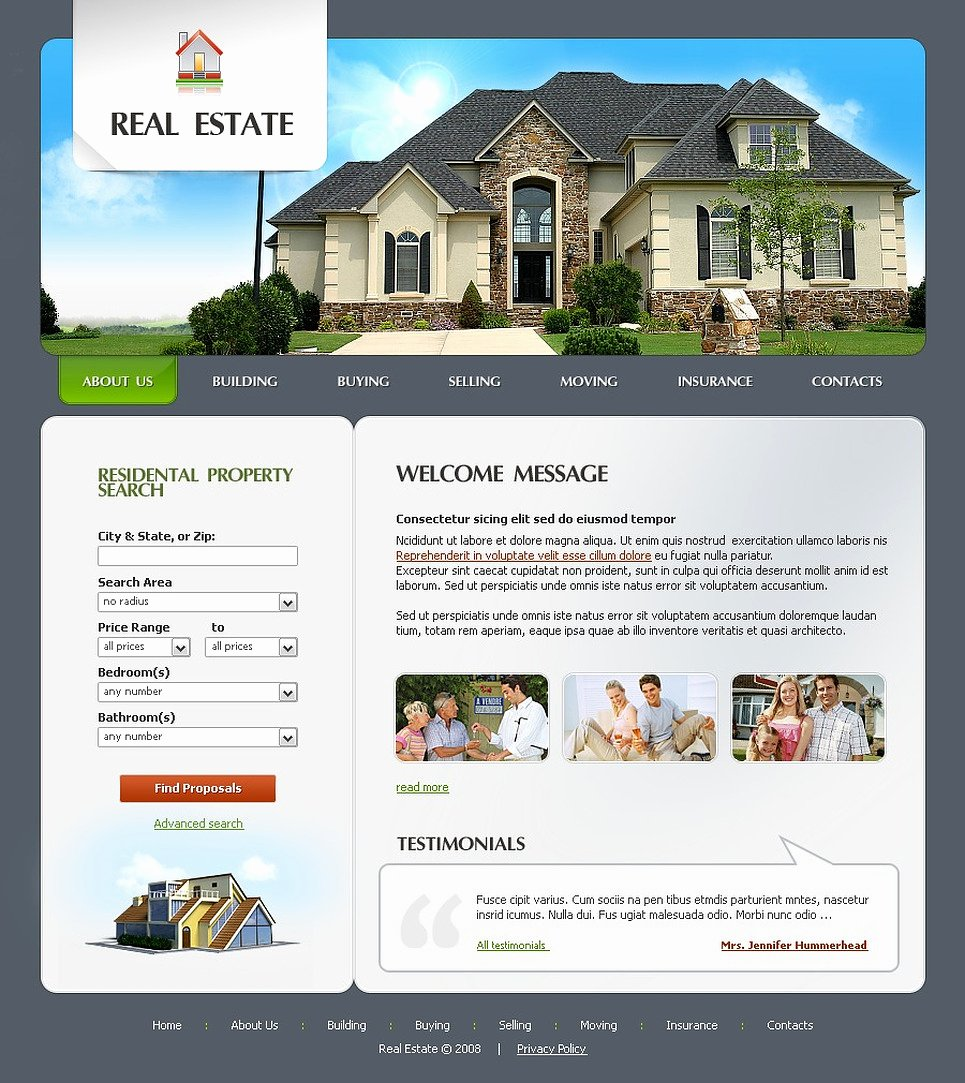 Real Estate Website Templates Lovely Real Estate Agency Website Template