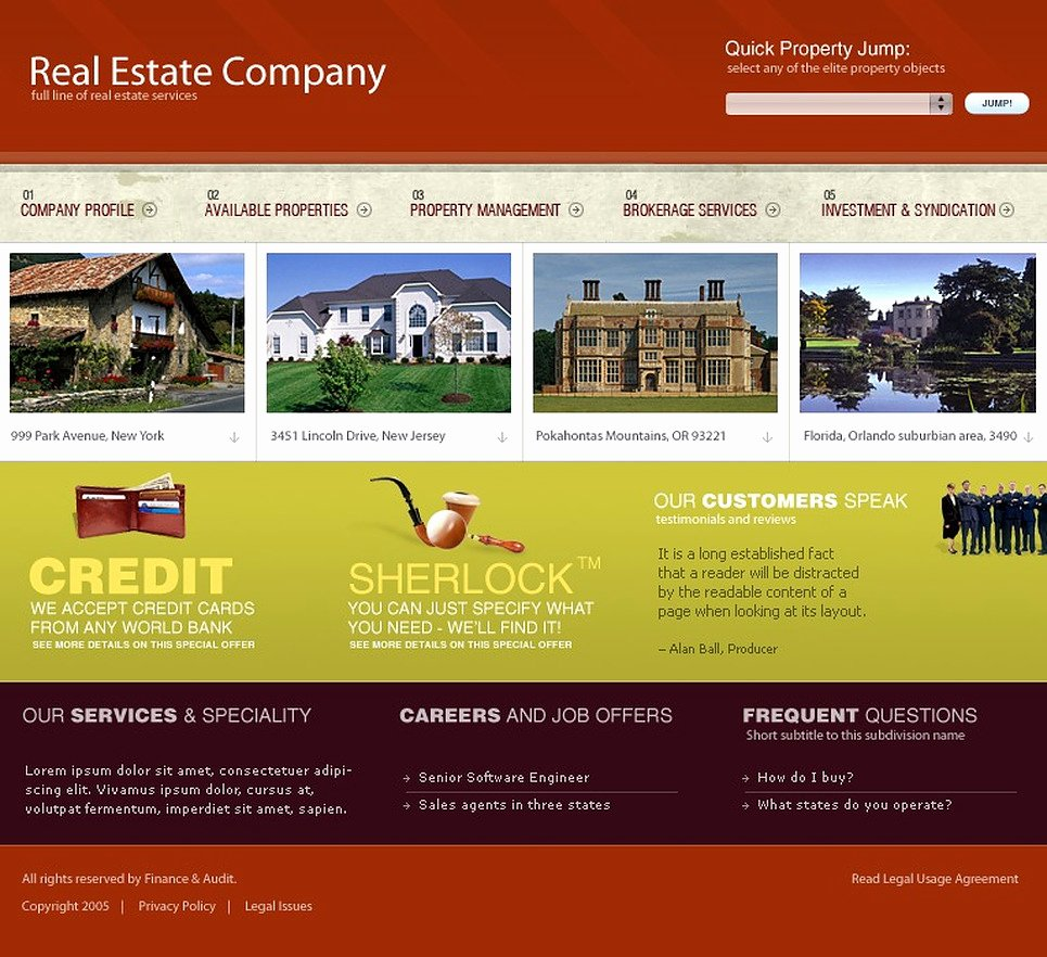 Real Estate Website Templates New Real Estate Website Template 9696