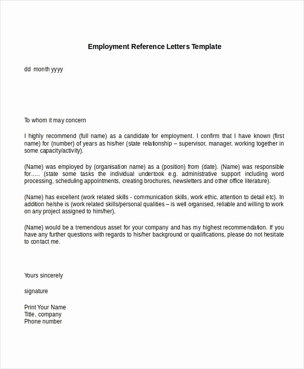 Reference Letter for A Job Beautiful Employment Reference Letter