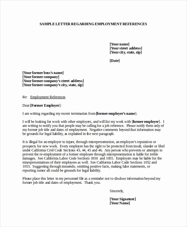 Reference Letter for A Job Fresh 7 Job Reference Letter Templates Free Sample Example