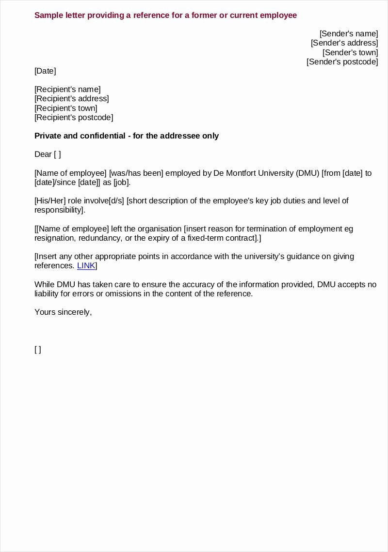 Reference Letter for A Job Fresh Free 9 Employee Reference Letter Samples In Pdf