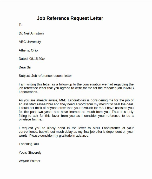 Reference Letter for A Job Lovely Job Reference Letter 7 Free Samples Examples & formats