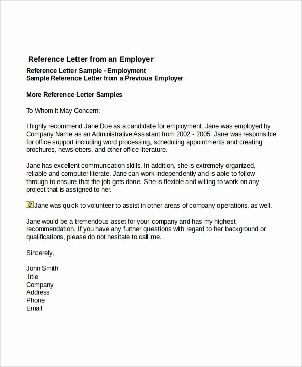 Reference Letter for A Job Luxury 7 Job Reference Letter Templates Free Sample Example