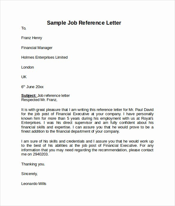 Reference Letter for A Job New Job Reference Letter 7 Free Samples Examples & formats