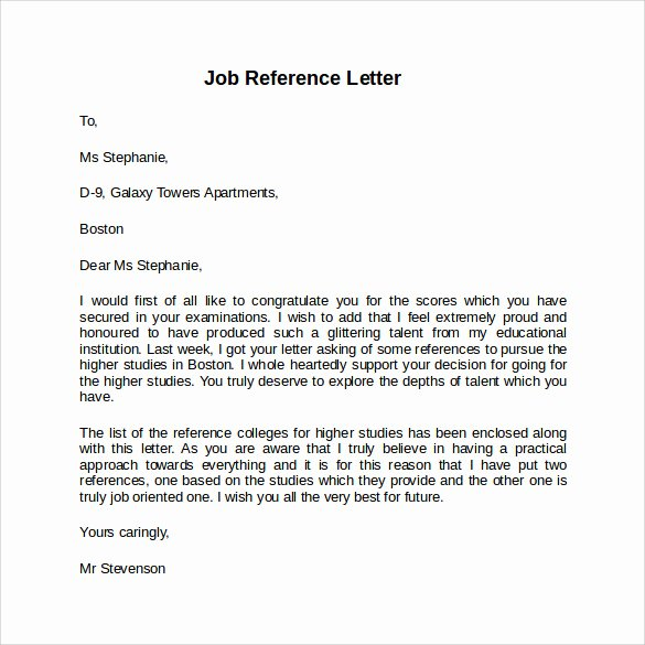 Reference Letter for A Job Unique Job Reference Letter 7 Free Samples Examples & formats
