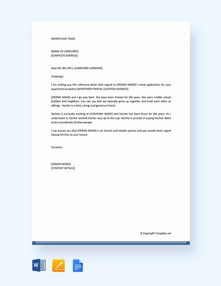 Reference Letter for Apartment Awesome 8 Reference Letters for Friend Doc Pdf