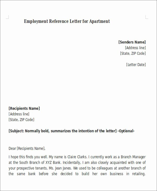 Reference Letter for Apartment Beautiful 8 Sample Reference Letters for Apartment Pdf Doc