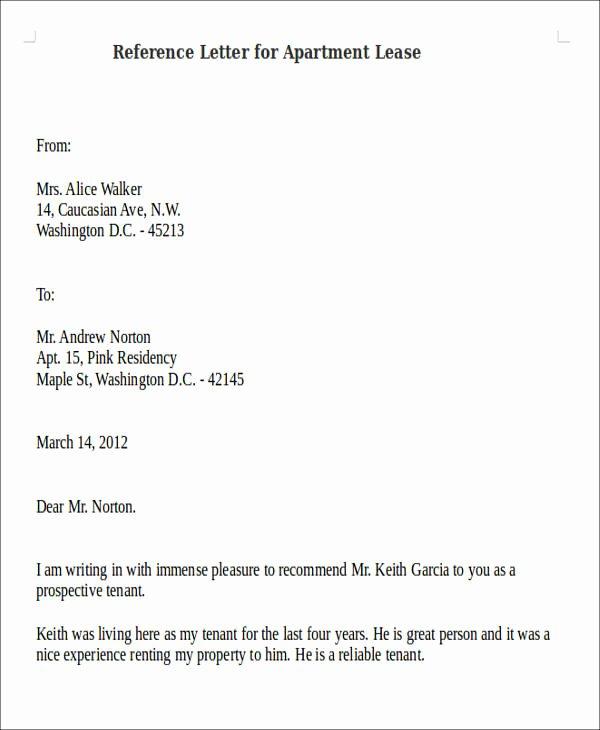 Reference Letter for Apartment Fresh 8 Sample Reference Letters for Apartment Pdf Doc