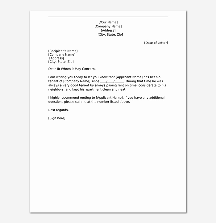 Reference Letter for Apartment Fresh Tenant Reference Letter How to Write with format & Samples