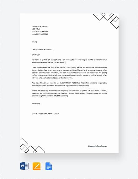 Reference Letter for Apartment Lovely 8 Sample Reference Letters for Apartment Pdf Doc