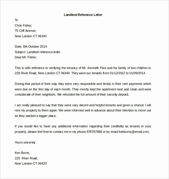 Reference Letter for Apartment Unique Free Reference Letter Templates 24 Free Word Pdf