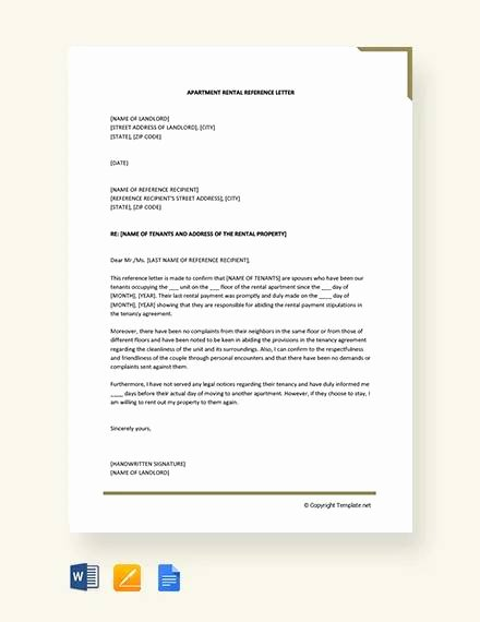 Reference Letter for Apartment Unique Sample Rental Reference Letter 8 Examples In Pdf Word