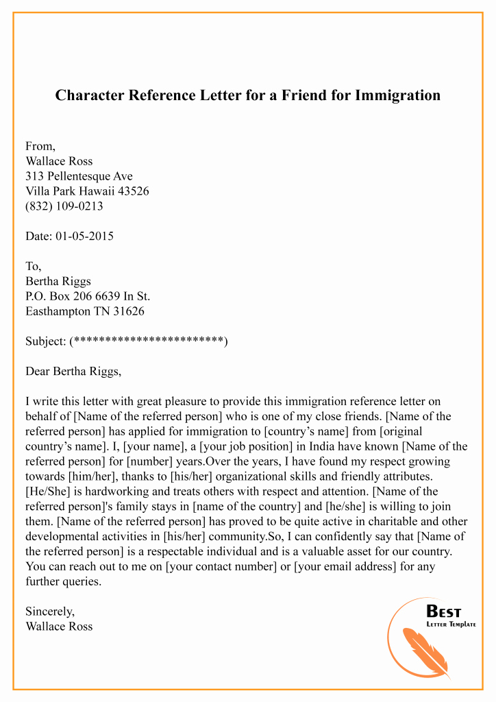 Reference Letter for Immigration New Character Reference Letter for Immigration – Sample & Example