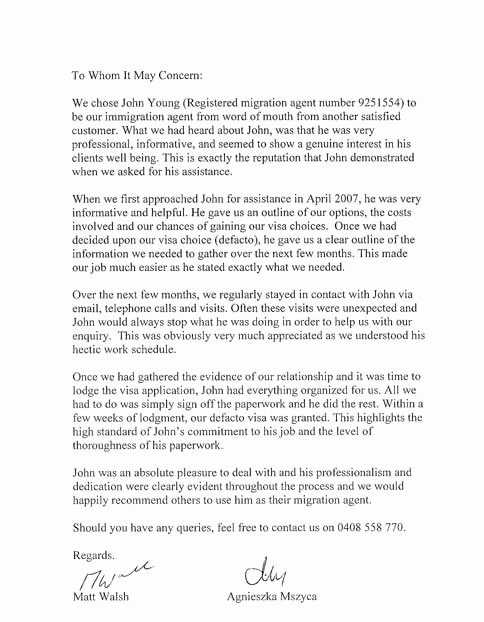 Reference Letter for Immigration New Letter Re Mendation for Immigration