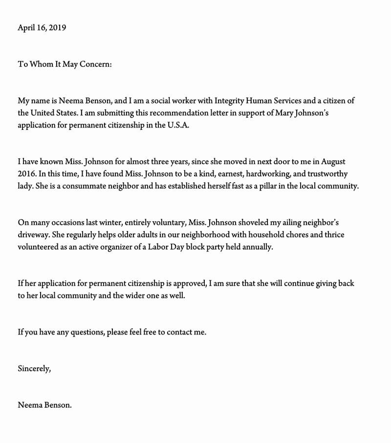 Reference Letter for Immigration Unique Letter Of Support for Immigration 10 Sample Reference