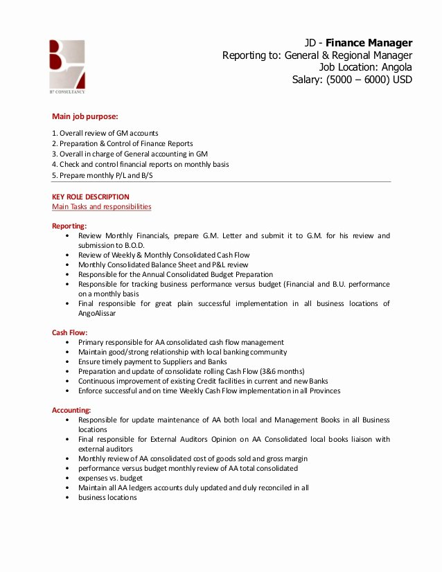 Regional Sales Manager Job Description Awesome Finance Manager Jd
