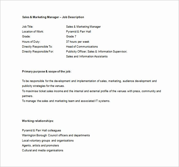 Regional Sales Manager Job Description Awesome Sales Manager Job Description Template 11 Free Word
