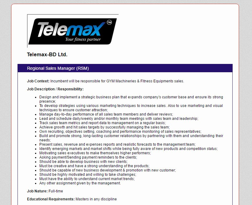 Regional Sales Manager Job Description Awesome Telemax Bd Ltd Position Regional Sales Manager Rsm