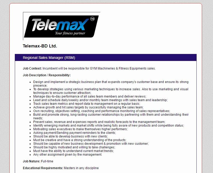 Regional Sales Manager Job Description Awesome Telemax Bd Ltd Position Regional Sales Manager Rsm