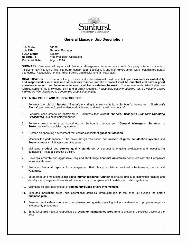 Regional Sales Manager Job Description Best Of Hotel General Manager Job Description