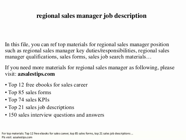 Regional Sales Manager Job Description Elegant Regional Sales Manager