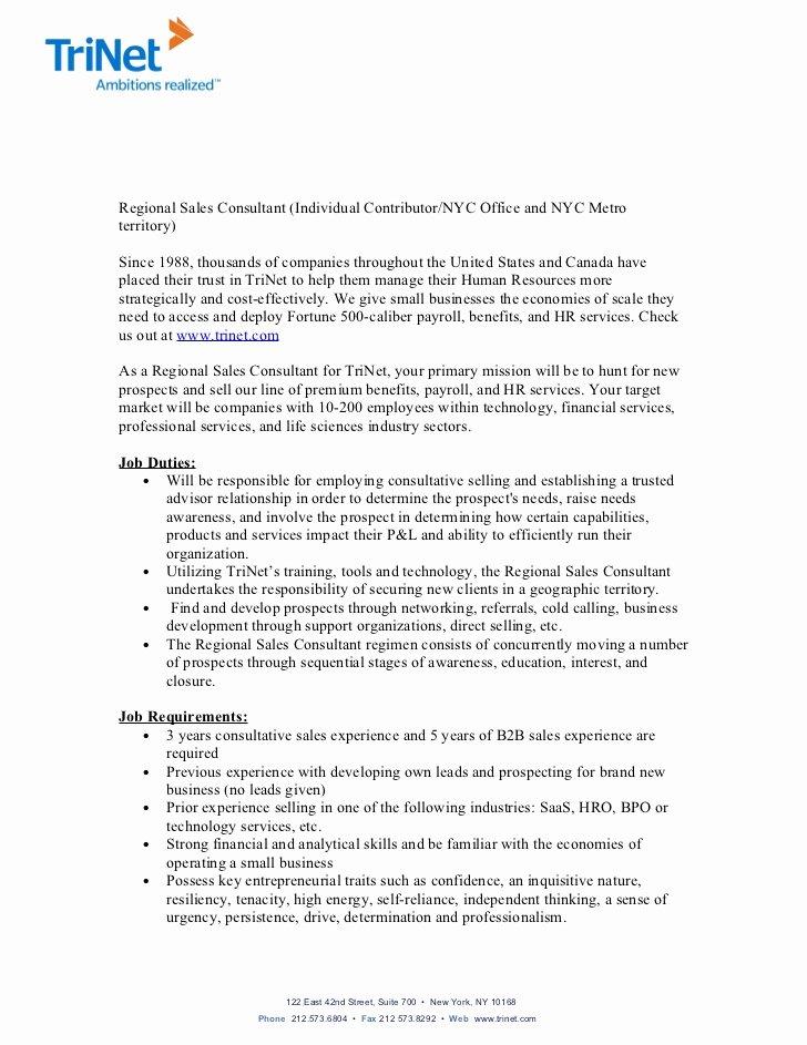 Regional Sales Manager Job Description Elegant Trinet Regional Sales Consultant Job Description