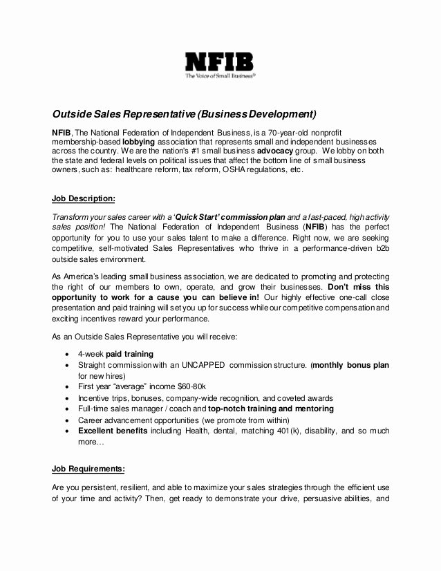 Regional Sales Manager Job Description Lovely Outside Sales Representative Job Description