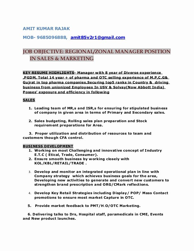 Regional Sales Manager Job Description Lovely Resume for Post Of Regional Zonal Manager