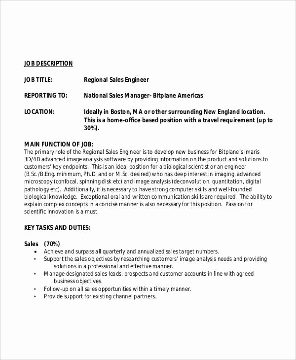 Regional Sales Manager Job Description Luxury 10 Sales Engineer Job Description Templates Pdf Doc