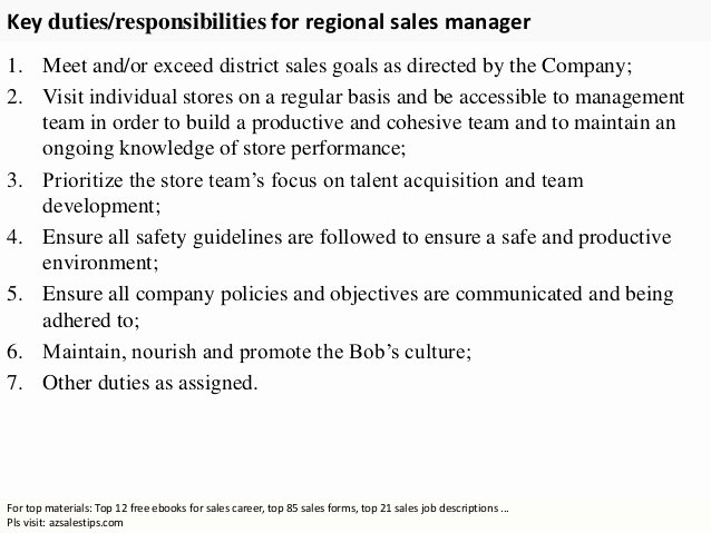 Regional Sales Manager Job Description Luxury Regional Sales Manager