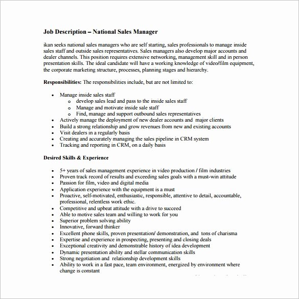 Regional Sales Manager Job Description Luxury Sales Manager Job Description Template 11 Free Word