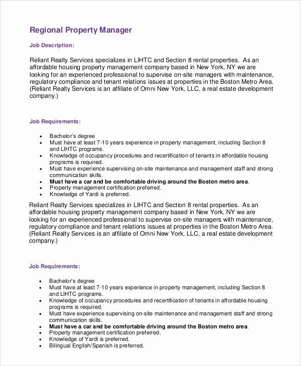 Regional Sales Manager Job Description Luxury Sample Property Manager Job Description 9 Examples In