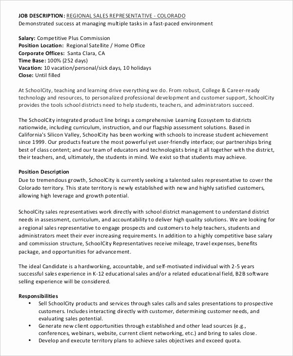 Regional Sales Manager Job Description New 12 Sales Job Description Templates Pdf Doc