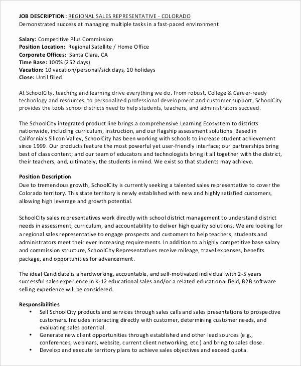 Regional Sales Manager Job Description New 12 Sales Job Description Templates Pdf Doc