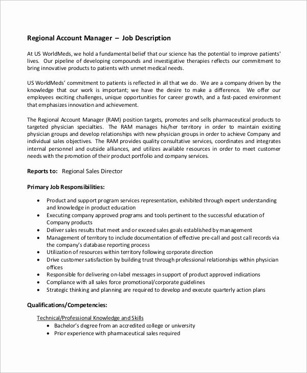 Regional Sales Manager Job Description Unique Sample Accounting Manager Job Description 10 Examples