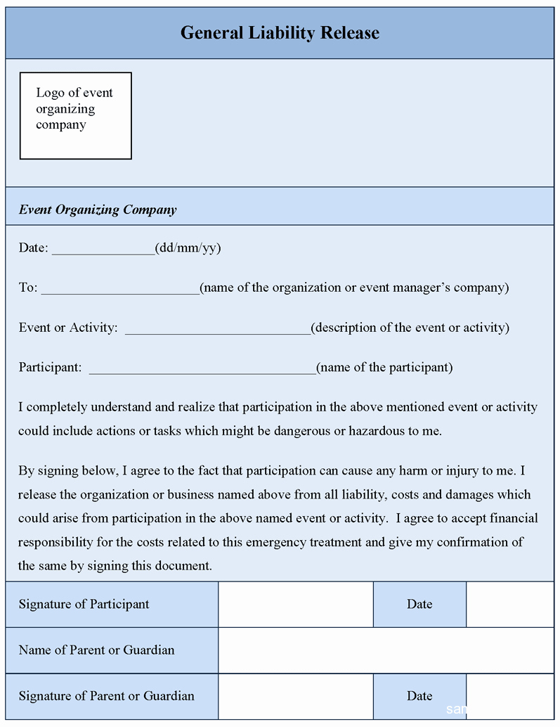 Release Of Liability form Pdf Beautiful General Liability Release form Sample forms