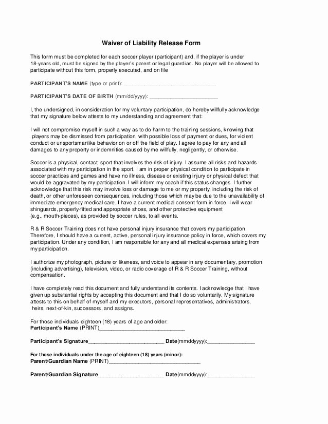 Release Of Liability form Pdf Best Of Free Printable Liability Release Waiver form form Generic