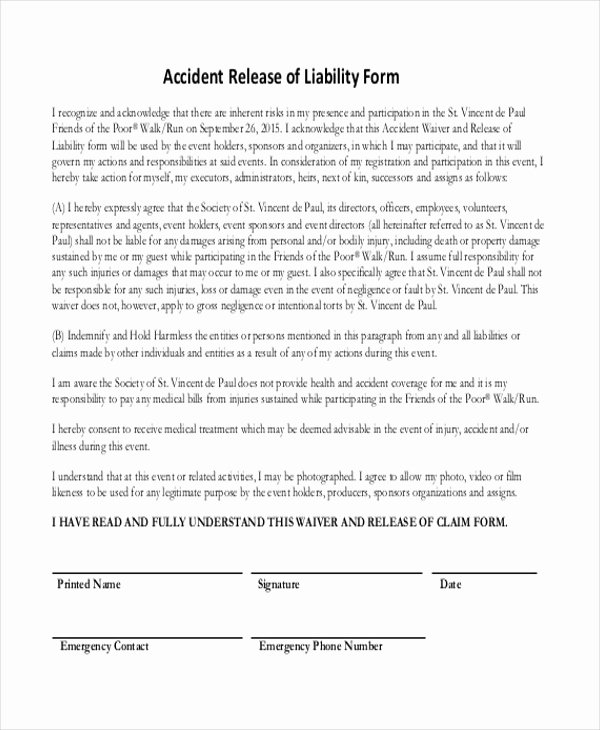 Release Of Liability form Pdf Fresh Free 11 Sample Release Of Liability forms In Pdf