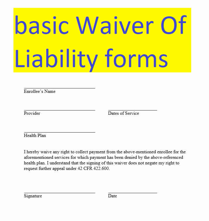 Release Of Liability form Pdf Inspirational Basic Waiver Liability form Doc and Pdf formats